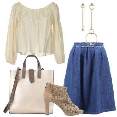 Outfit Trendy con la gonna di jeans