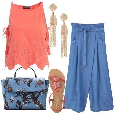 Outfit Jeans e corallo