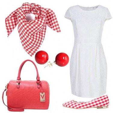 Outfit Bianco e quadretti