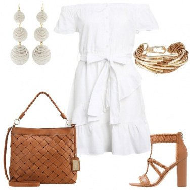 Outfit Bianco e cuoio