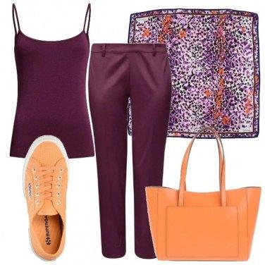 Outfit Tra il viola e l\'arancio