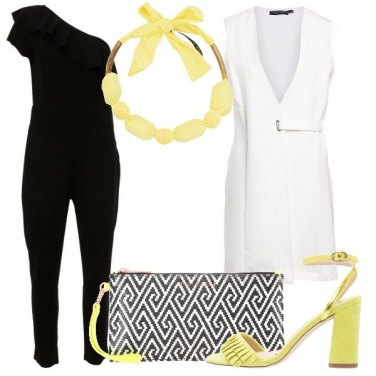 Outfit Nero bianco e giallo