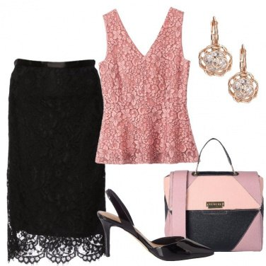 Outfit La gonna in pizzo nero