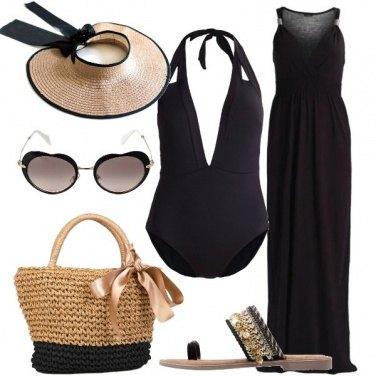 Outfit Nero e paglia