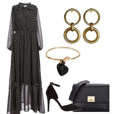 Outfit Oro nero e pois