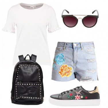 Outfit Lo shorts con le patch