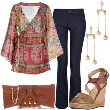 Outfit Serata in seta e jeans