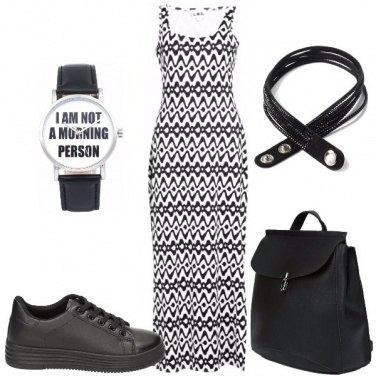Outfit Maxiabito bianco e nero