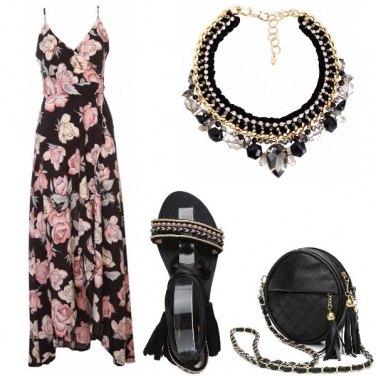 Outfit Fiori sull\'abito lungo