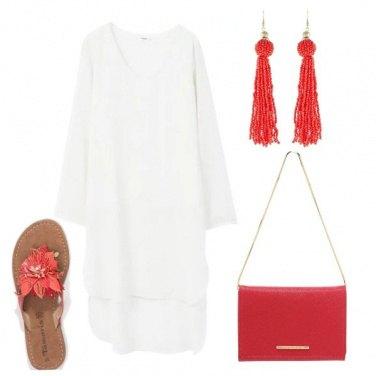 Outfit Bianco, rosso e spiaggia