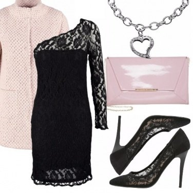 Outfit Rosa baby e..pizzo nero.