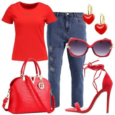 Outfit Rosso sul jeans