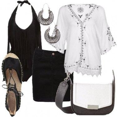 Outfit Bianco e nero alternativo