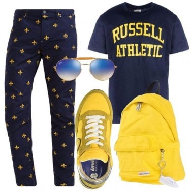 Outfit Equilibrio in blu e giallo
