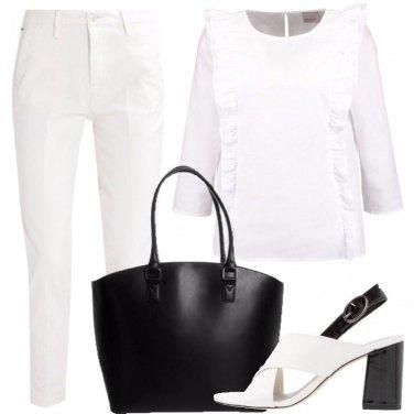 Outfit Nero e bianco in città
