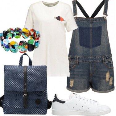 Outfit Salopette corta jeans