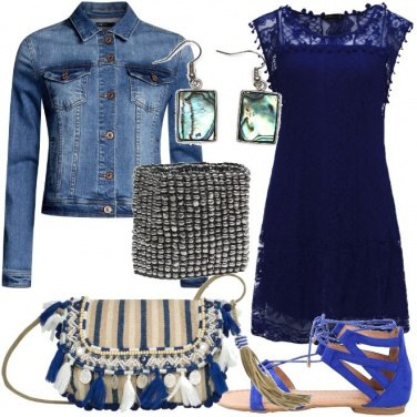 Outfit Abito blu in stile boho-chic