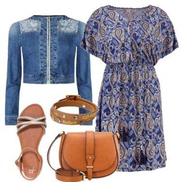 Outfit Blu e cuoio