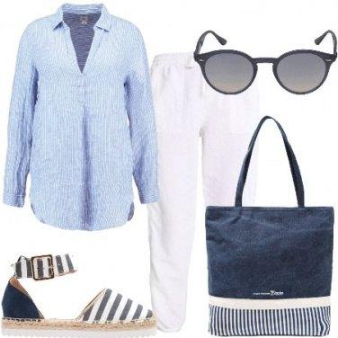 Outfit Lino e righe