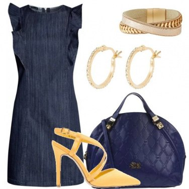 Outfit Chic in blu e giallo