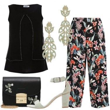 Outfit Fiori sui pantaloni
