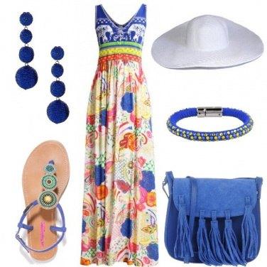 Outfit L\'abito lungo con stampa floreale