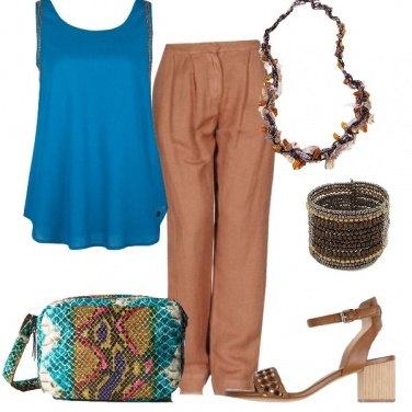 Outfit Turchese e marrone