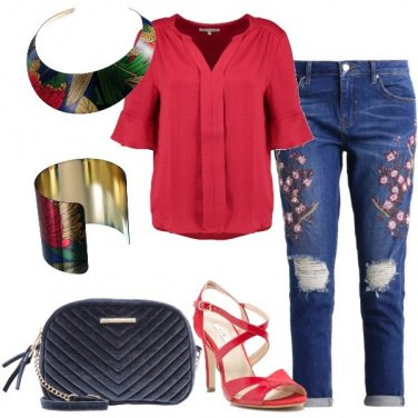 Outfit Jeans baggy fantasia floreale