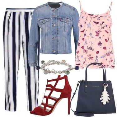Outfit Righe fiori e denim