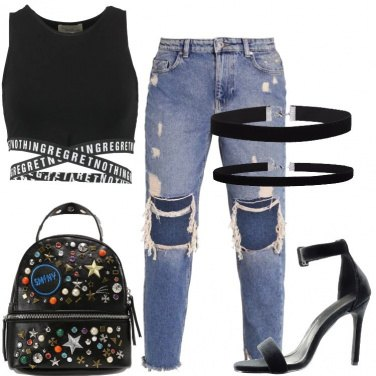 Outfit Jeans baggy e tacchi a spillo