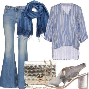 Outfit Jeans a zampa e abbinamenti platino