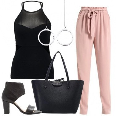 Outfit In ufficio in rosa e nero