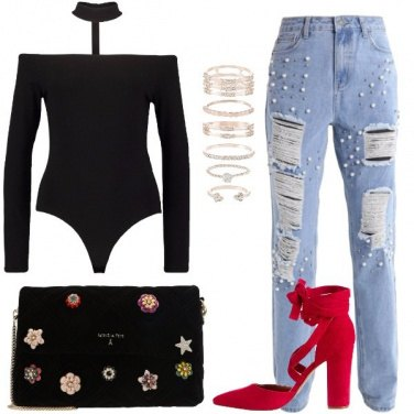 Outfit I jeans con le perle