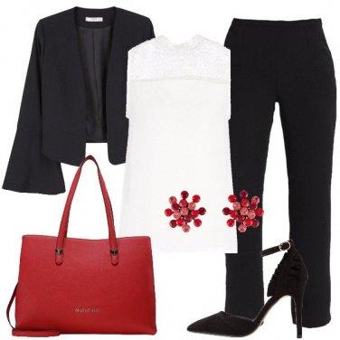 Outfit Nero bianco e rosso