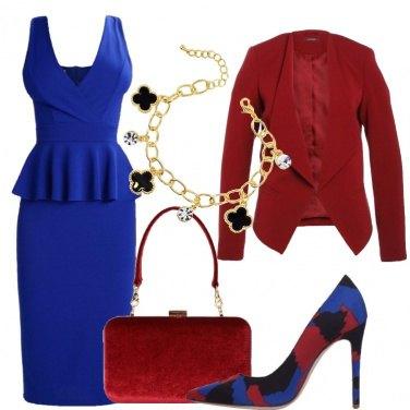 Outfit Bluette e rosso scuro