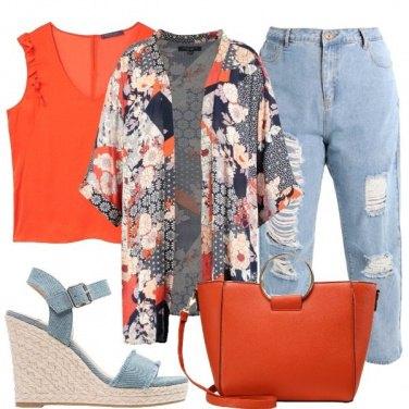Outfit Arancio e denim