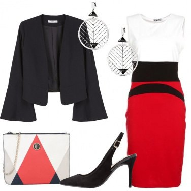 Outfit Nero rosso bianco
