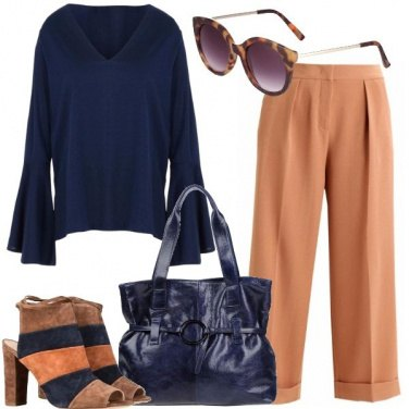 Outfit Blu e cammello