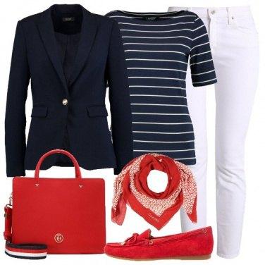Outfit Raffinata a righe