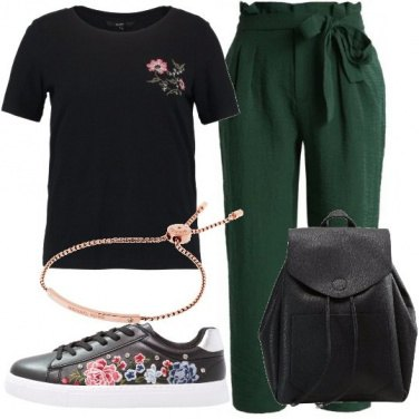 Outfit Nero e verde