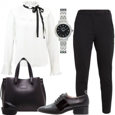 Outfit Mannish in bianco e nero