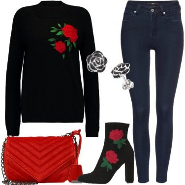 Outfit Rose rosse e jeans