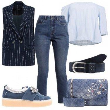 Outfit Gilet gessato blu