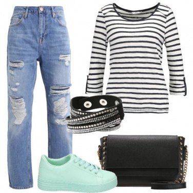 Outfit Ragazza a righe