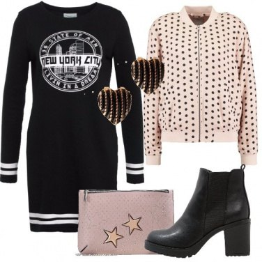Outfit Pois cuori e stelle