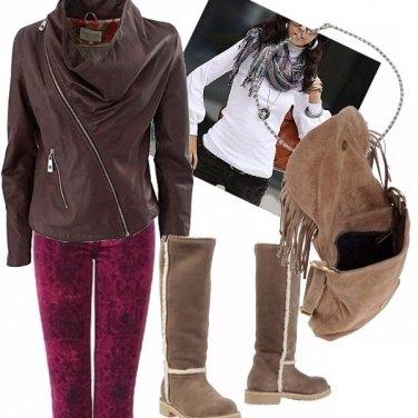 Outfit Pantalone fantasy vinaccia