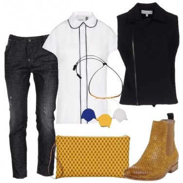 Outfit Jeans effetto consumato