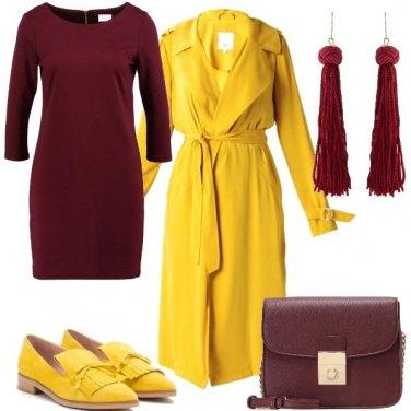 Outfit Bordeaux e giallo