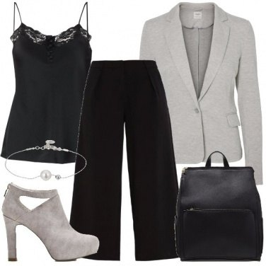 Outfit Pantaloni culotte e tronchetti