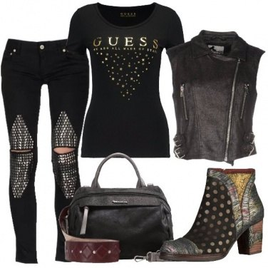 Outfit Strappi e borchie sulle ginocchia